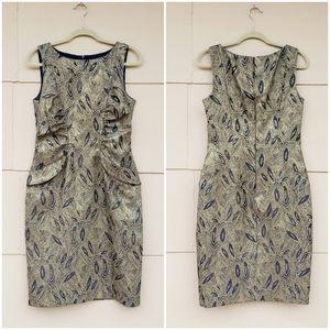 David Meister gold leaf sleeveless dress